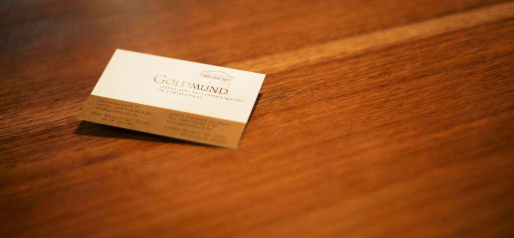 Visitenkarte des Frankfurter Restaurants Goldmund